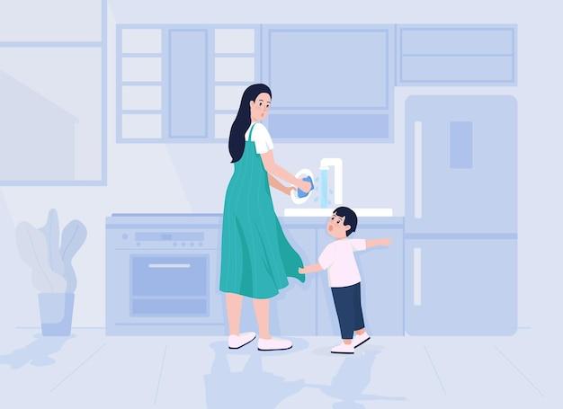 El niño distrae la ilustración de vector de color plano de la madre. mamá ocupada haciendo las tareas del hogar. el niño pequeño exige la atención de los padres. personajes de dibujos animados familiares 2d con interior de cocina en el fondo