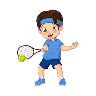 Niño divertido de dibujos animados jugando al tenis