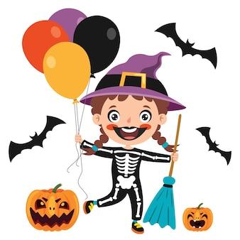 Niño divertido feliz celebrando halloween