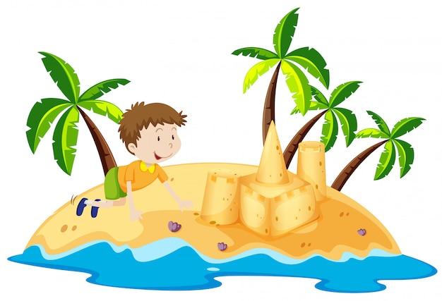 Niño divirtiéndose en la isla