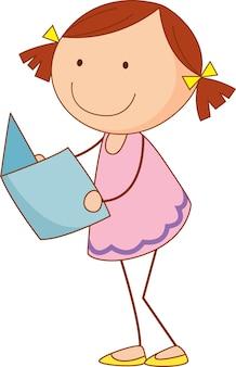 Un niño de doodle leyendo un personaje de dibujos animados de libro aislado