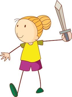 Un niño de doodle sosteniendo un personaje de dibujos animados de espada aislado