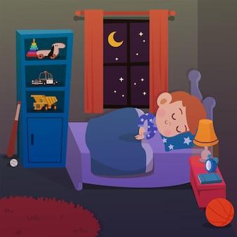 Niño duerme en la ilustración de vector de habitación