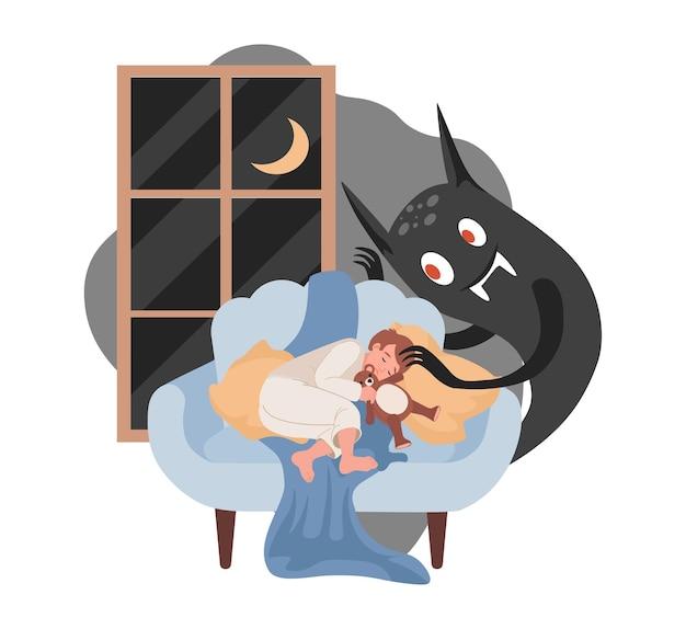 Niño durmiendo, monstruo aterrador de la noche negra listo para atacarlo