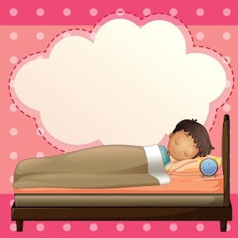 Un niño durmiendo con una plantilla de rótulo vacía