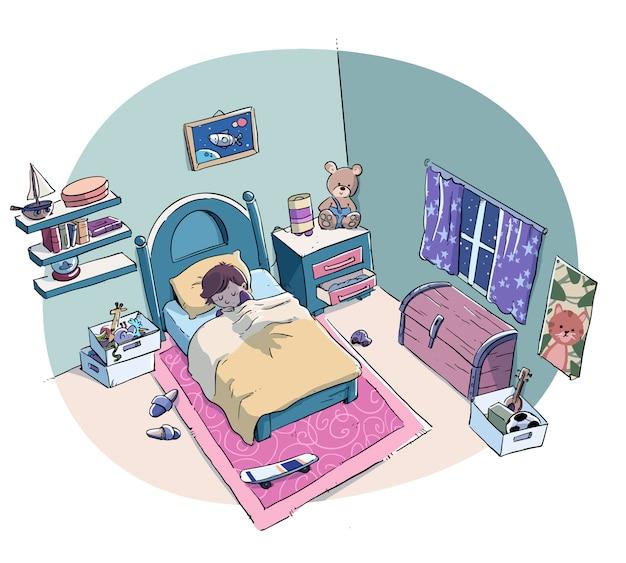 Niño durmiendo tranquilamente en la cama de su habitación