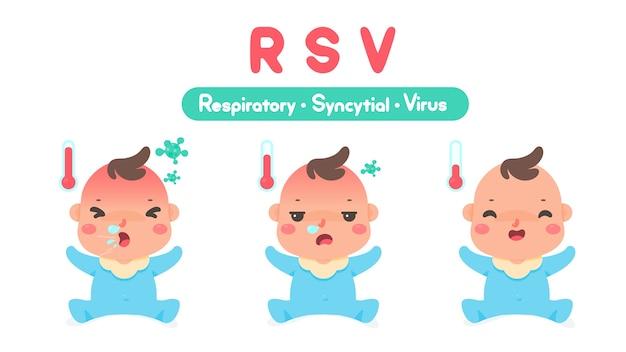 Niño enfermo de dibujos animados con fiebre alta por el virus que ingresa a los pulmones causando tos y secreción nasal