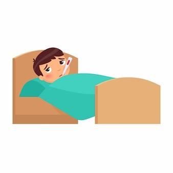 Niño enfermo con termómetro en la cama. niño con personaje de dibujos animados de alta temperatura. fiebre, síntoma de influenza. niño con resfriado. paciente relajante debajo de una manta