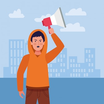 Niño enojado de dibujos animados sosteniendo un megáfono