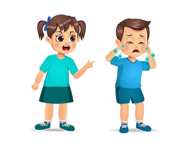 Niño enojado gritando a chico lindo. aislado en blanco