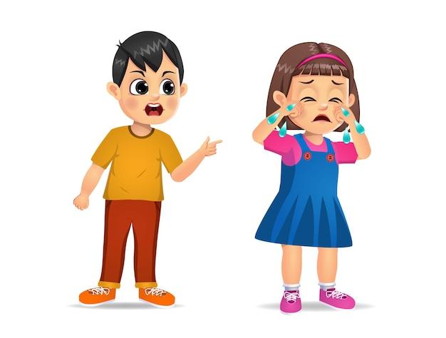 Niño enojado gritando a linda chica. aislado en blanco