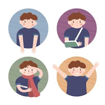 Un niño y una erupción un niño y un brazo roto un niño y un niño sano y frío conjunto de ilustración vectorial