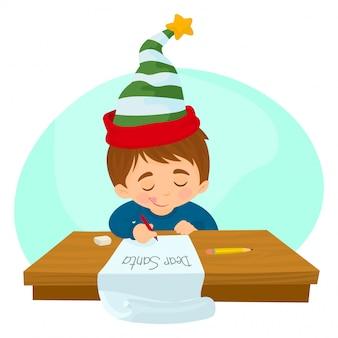 Niño escribiendo una carta a santa claus
