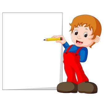 Un niño escribiendo cartas