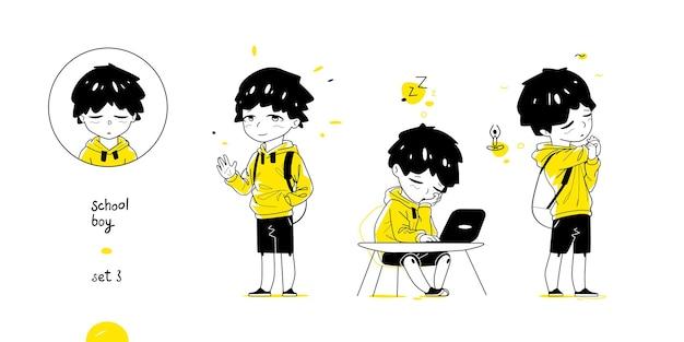 Niño de escuela con diferentes poses