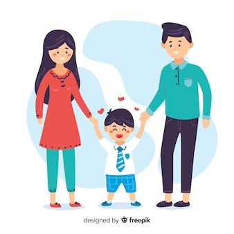 Niño de escuela con sus padres