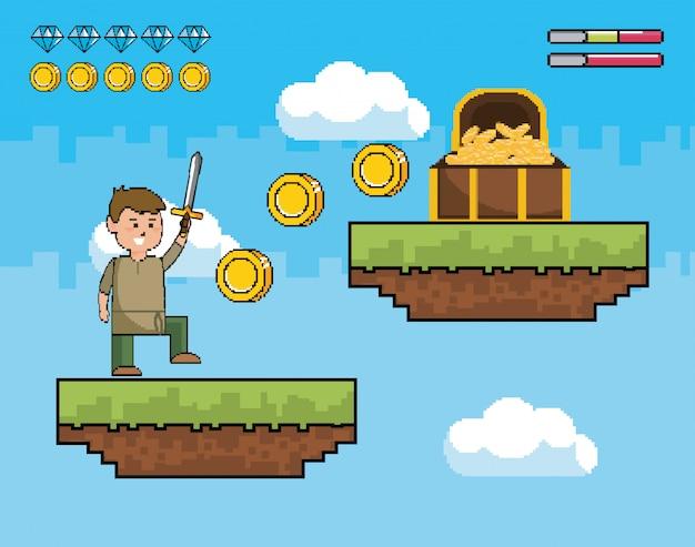 Niño con espada y monedas dentro de cofre con salvavidas.