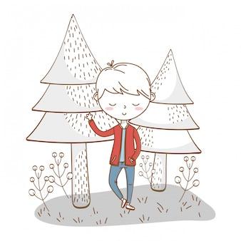 Niño con estilo traje de dibujos animados naturaleza