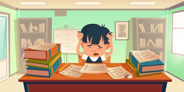 El niño se estresó haciendo la tarea o se preparó para el examen