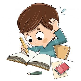 Niño estudiando con estrés y preocupado.