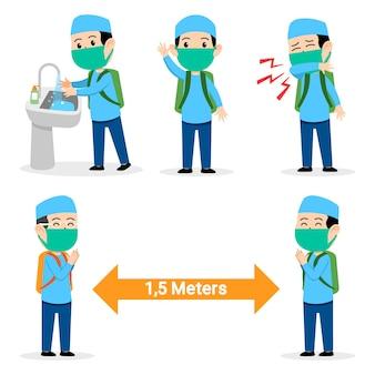 Niño estudiante musulmán evita la propagación de la gripe