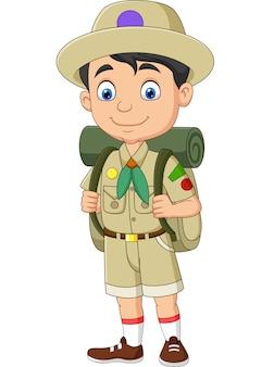 Niño explorador feliz de dibujos animados