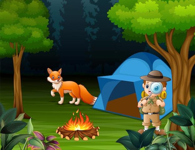 Niño explorador que acampa en el bosque y un zorro cerca de la tienda.