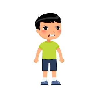 Niño con expresión de cara enojada