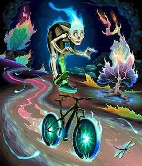 El niño fantasma está montando la bicicleta en el parque fluvial