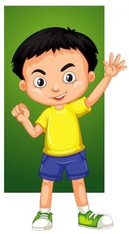 Niño feliz agitando la mano