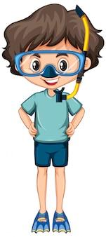 Niño feliz con aletas y snorkel en blanco
