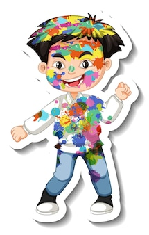Niño feliz con color en la etiqueta de su cuerpo sobre fondo blanco.