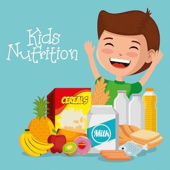 Niño feliz con comida de nutrición