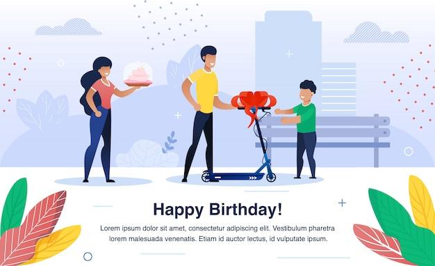Niño feliz cumpleaños celebración vector banner