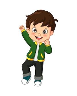Niño feliz de dibujos animados en chaqueta verde