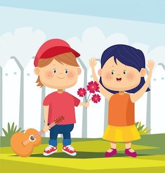 Niño feliz de dibujos animados con una guitarra y dar flores a una niña sobre valla blanca