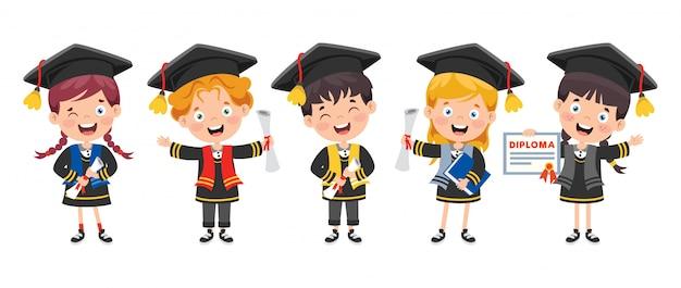 Niño feliz de dibujos animados en traje de graduación