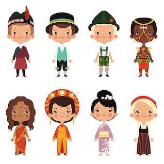 Niño feliz de diversas nacionalidades.
