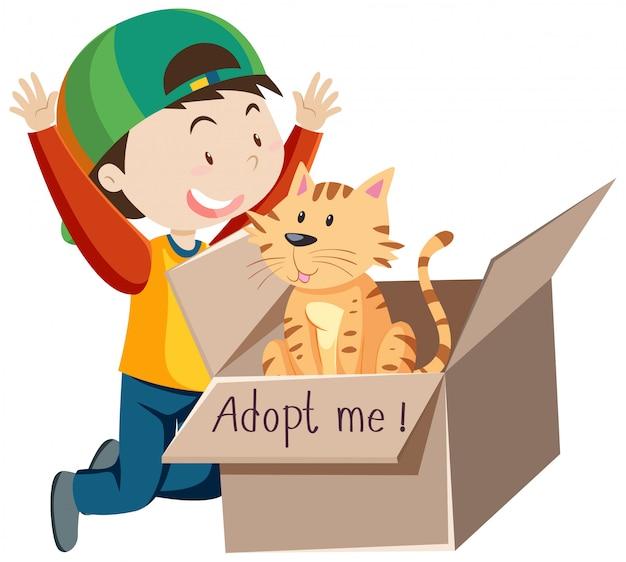 Un niño feliz con gorra con lindo gato en una caja de dibujos animados aislado
