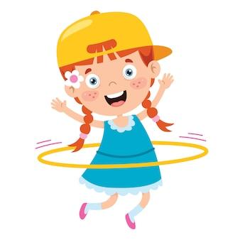 Niño feliz haciendo ejercicio de gimnasia