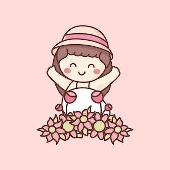 Niño feliz en el jardín de flores