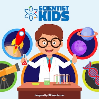 Niño feliz en el laboratorio