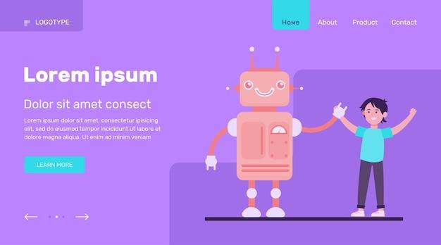 Niño feliz levantando las manos con robot. ingeniería, futuro, conocimiento ilustración vectorial plana. diseño de sitio web de concepto de industria robótica y tecnología o página web de destino