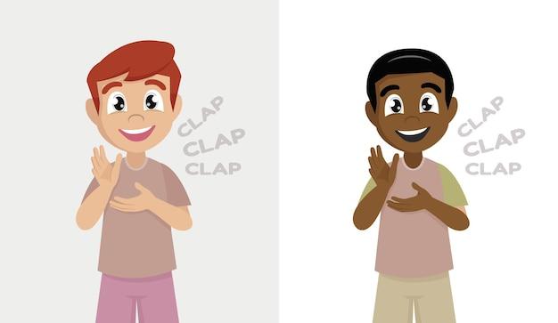 Niño feliz, niño, posición, y, aplaudir la mano