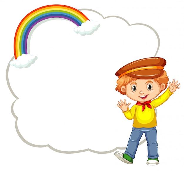 Niño feliz con plantilla de nube