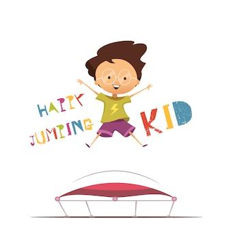 Niño feliz de preescolar de dibujos animados