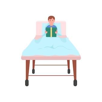 Niño feliz con regalo en la cama de hospital ilustración de color plano