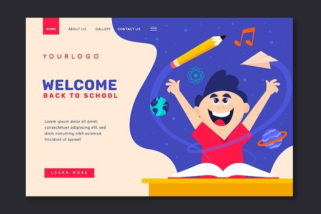 Niño feliz regreso a la página de inicio de la escuela
