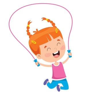 Niño feliz saltando la cuerda