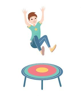 Niño feliz saltando en un trampolín. ilustración colorida sobre fondo blanco.
